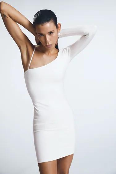Qeils Mini Long Sleeve Dress Women Sexy Solid Color Dissymmetry  Casual Women Dress  Summer 2021  Elegant Dresses 5