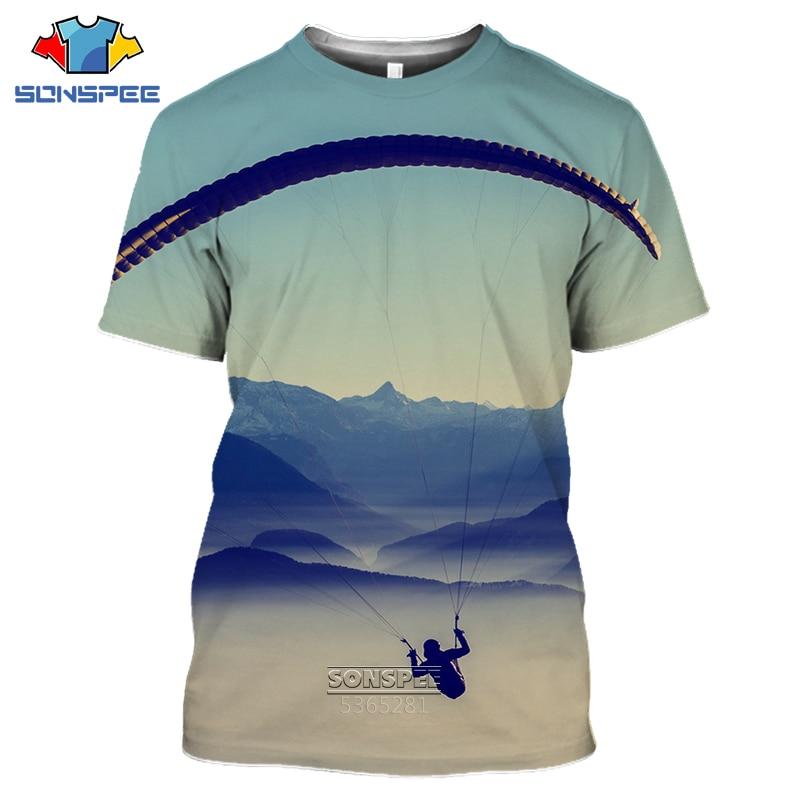 SONSPEE 2020 parachute men's T-shirt 3D printing Retro Skydiving T-shirt Parachuting Skydive Tee Tops Paragliding Homme Shirt