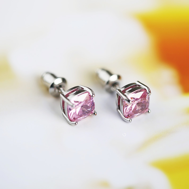 Huitan Cute Tiny Stud Earrings With Romantic Pink Cubic Zircon Stone Simple MInmalist Young Ladies Jewwlry Earrings Wholesale