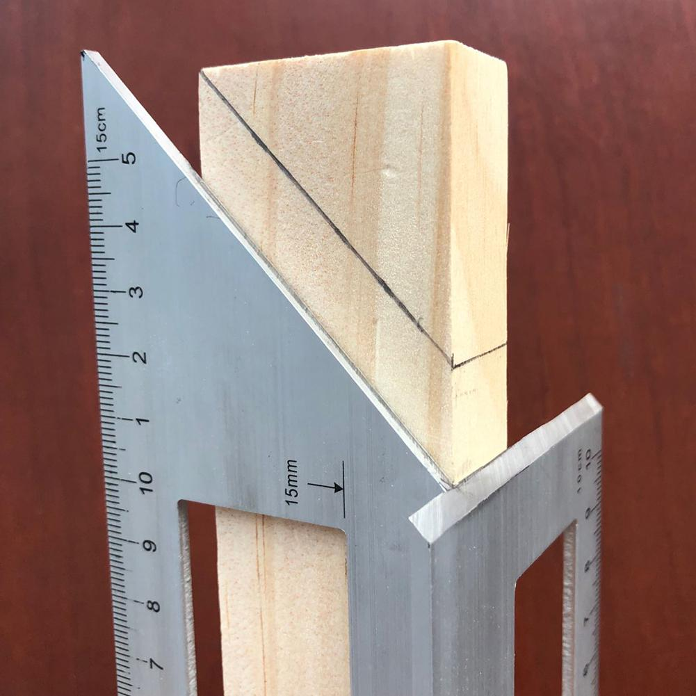 Regla de ángulo de calibre de 45/90 grados cuadrado multifuncional herramienta de medición de carpintería
