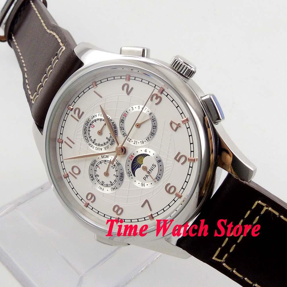 Parnis 44mm esfera blanca oro manos Luna fase multifunción movimiento automático reloj de hombre 18