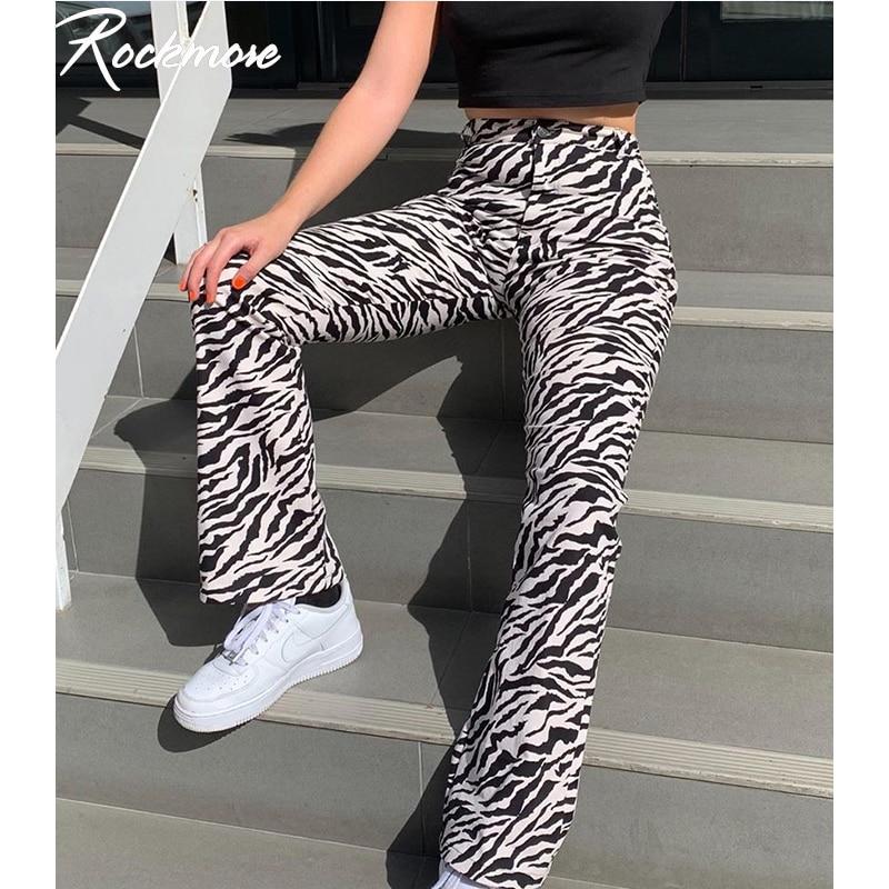 Rockmore Zebra Striped Joggers Streetwear Straight Pants Women High Waist Trousers Plus Size Harajuku Korea Wide Leg Pants Femme