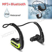 XGODY Wireless Earphones IPX8 Waterproof Professional Swimming Headphone Sports Earbuds Bluetooth Headset Stereo 8G MP3 Player