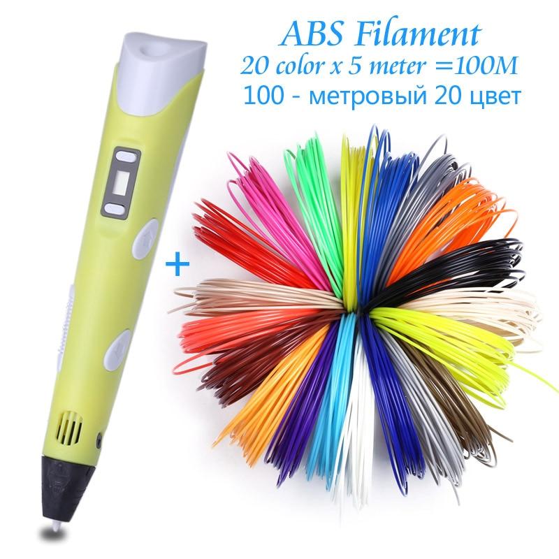 Original Model 3D Printing Pen With 100 Meter 10 Color ABS Filament For Kids Adult