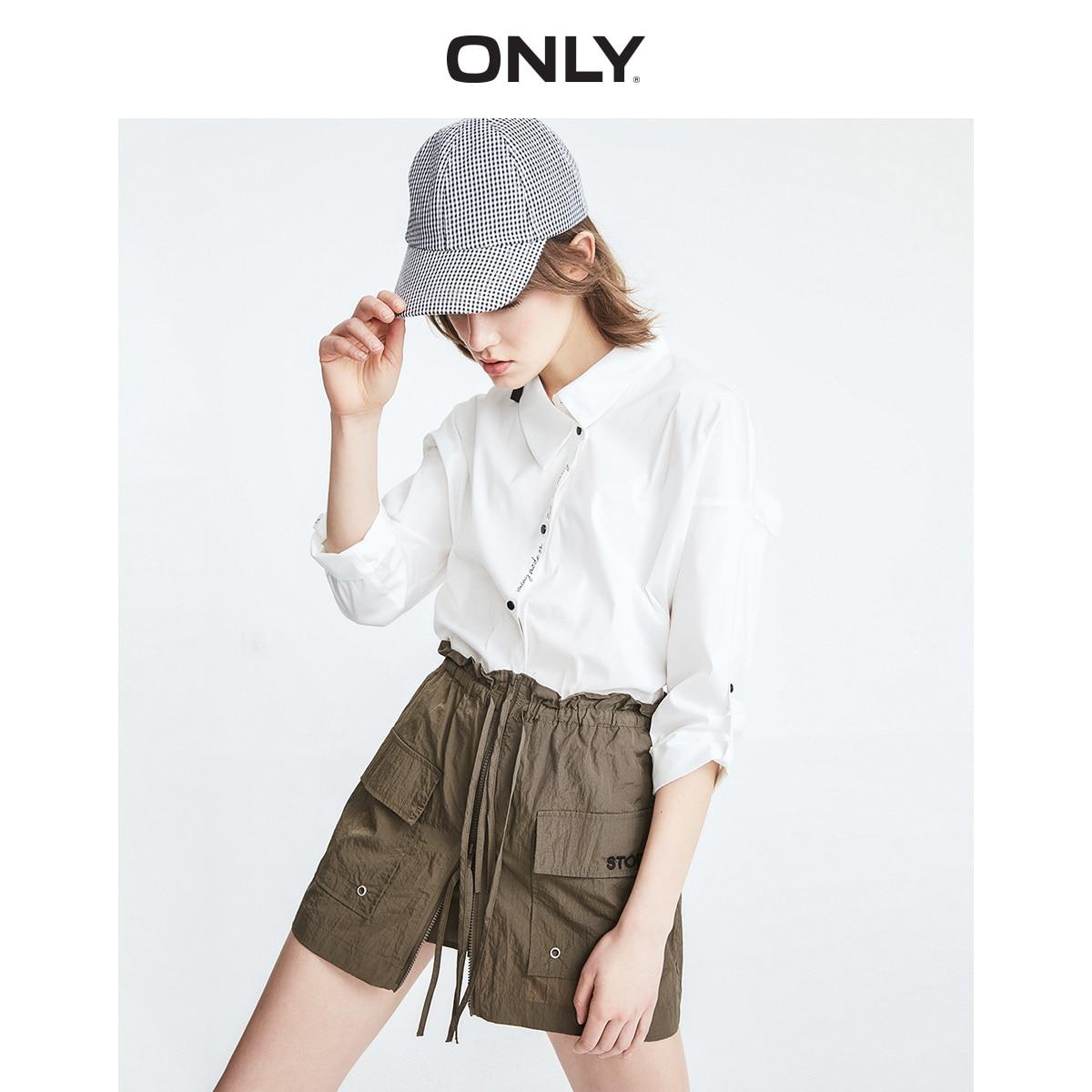 ONLY Women's  Loose Fit Asymmetrical Neckline Letter Print Long-sleeved Shirt | 119231508