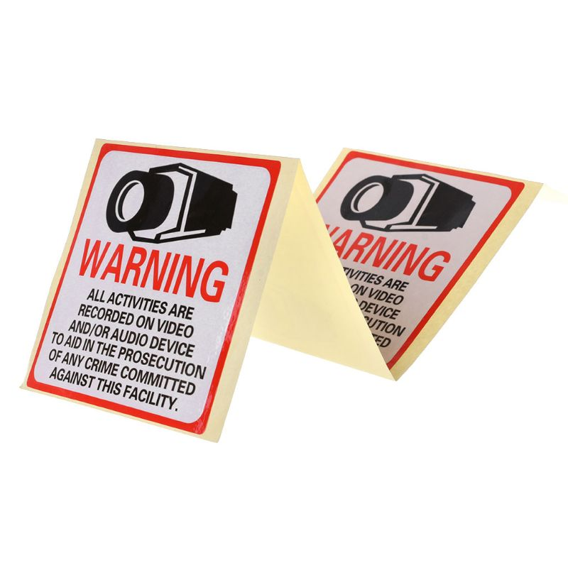 8PCS Warning Stickers SECURITY CAMERA IN USE Self-adhensive Safety Label Signs Decal   H37E