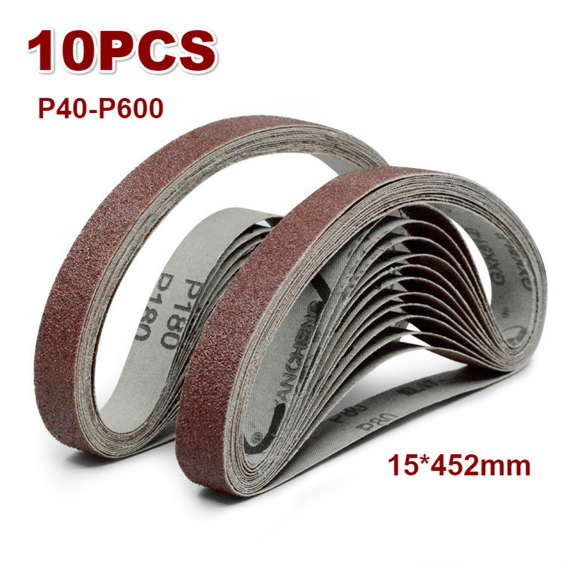 10pcs 452mm*15mm Grinding And Polishing Replacement Polishing Sanding Belt Grit Paper For Electric Angle Grinder Machine