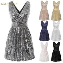 Kate Kasin Vrouwen Sequin Korte Avond Party Dress Zomer Mouwloze V-hals Prom Dress Gown Lovertjes Uitlopende A-lijn Jurken Femme(China)