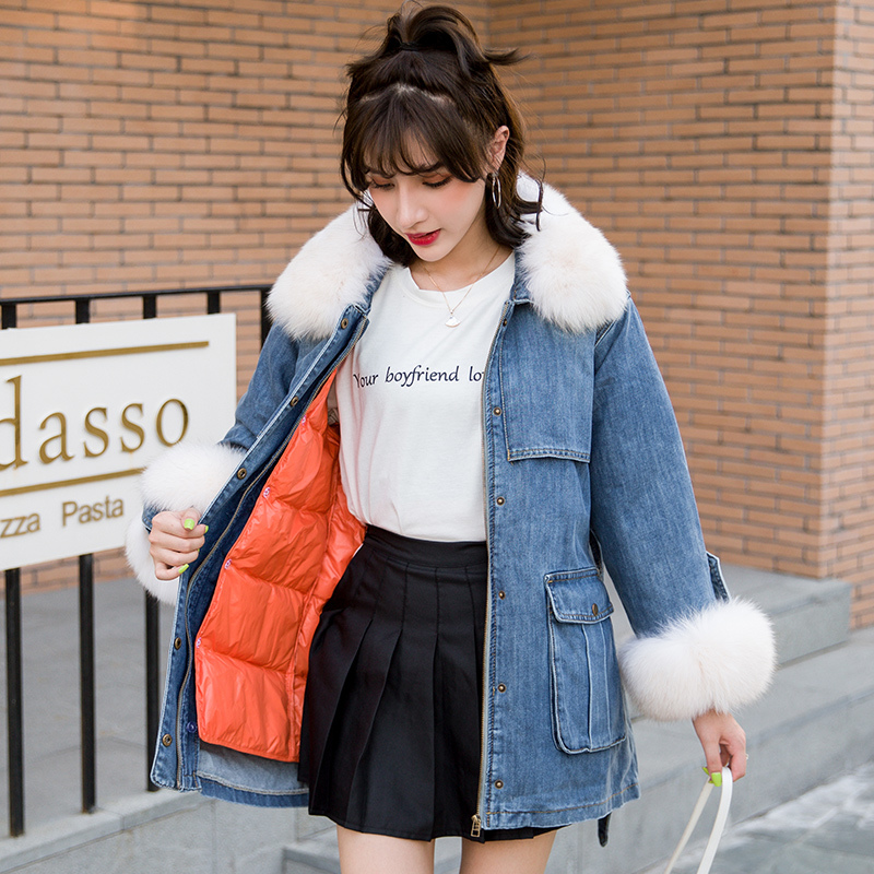 Winter Women's Down Jacket Autumn Large Fur Collar Jeans Coat Female Korean Warm Duck Down Jacket Vintage Thick Top 19612