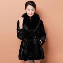 Высококачественное Норковое Пальто средней длины женская зимняя