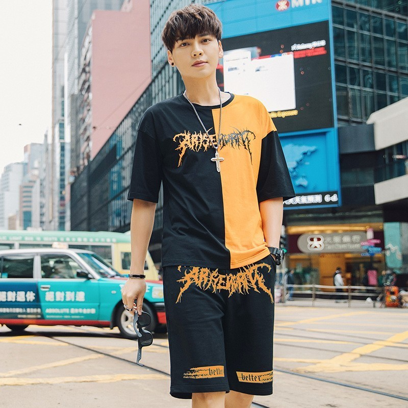 Personality Fashion Print Color Panelled Mens 2Pieces Sets Short Sleeve O-Neck Pullover Tees Top Drawstring Knee Length Shorts