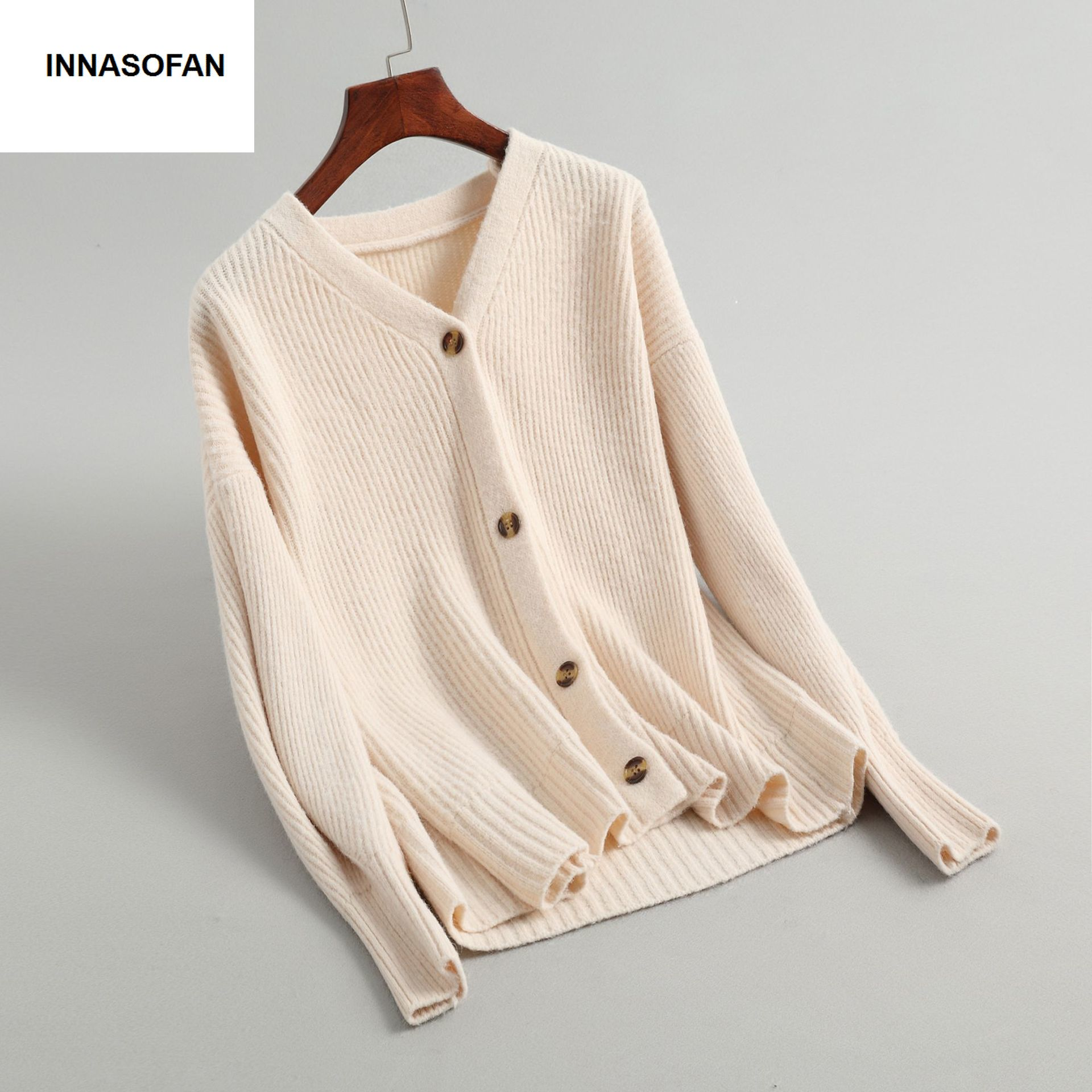 INNASOFAN Knitted Sweater Female Autumn Spring Long-sleeved Cardigan Euro-American Fashion Chic V-neck Solid Color