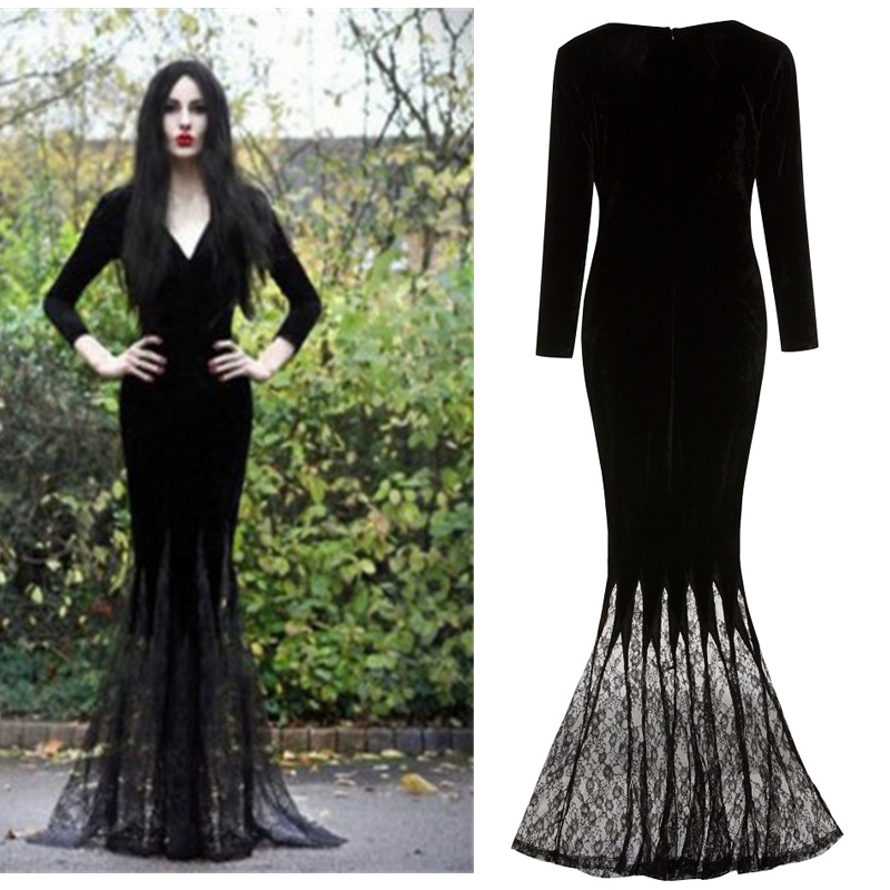 Morticia Addams Ghost Witch Costume Horror Black Floor Lace Dress Gown Robe Clothes For Ladies Women Gothic Halloween Cosplay