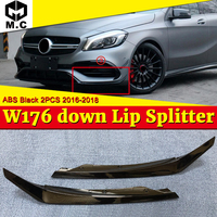 W176 Front Bumper Down Lip Splitters 2 pcs ABS black Car Styling For A Class W176 A180 A200 A45 A45AMG Down Lip Splitters 16 18