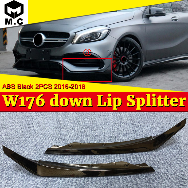 W176 Front Bumper Down Lip Splitters 2-pcs ABS black Car-Styling For A-Class A180 A200 A45 A45AMG 16-18
