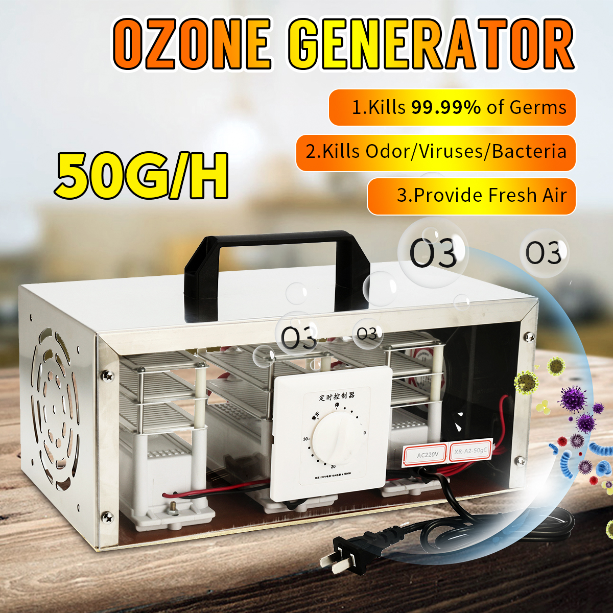 30g 50g/h 110V 220V Air Ozone Generator Air Purifier Sterilizer Ozonator Portable Ozonizer Cleaner Sterilizer With Timing Switch
