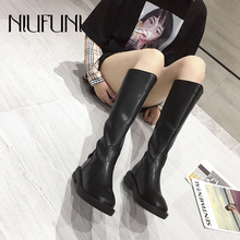 NIUFUNI Mid-Calf Solid Color Round Head Low Heel Womens Boots PU Leather Back Zipper Rain Slim Shoes Martin