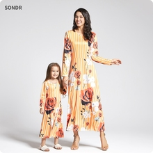 Mother Daughter Dresses Winter Long-Sleeve Yellow Floral Print Swing Dress Family Look Matching Outfits Mommy and Me Clothes long sleeve floral print mini swing dress