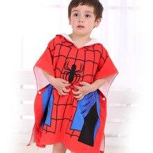 Disney Cartoon Spiderman America Captain Baby Boys Girls Hooded Bath Towel 100% Cotton Wearable Hooded Bath Towel 60x120cm
