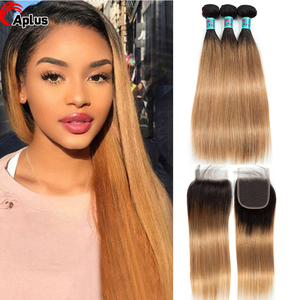 Ombre Bundles With Closure 1b 27 Honey Blonde Bundles With Closure 99j Burgundy Ombre Straight Human Hair Bundles With Closure(China)