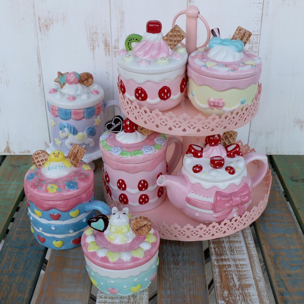 Creativo Rosa Fragola Teiera Tazza Tazza di Ceramica Della Caramella Vaso di Sale Cuori Della Ragazza Carino Pomeriggio Insieme di Tè regalo Di Natale
