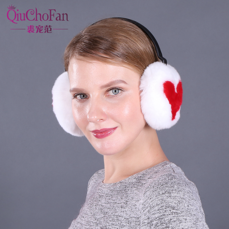 Women's Rabbit Fur Ear Muffs Women Heart Earmuffs Lovely Earlap Warm Natural Genuine Fur Plush Earmuffs Headphones Winter