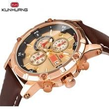 Luxury Golden Mens Sport Watches 6 Hands Date Stopwatch Quartz Waterproof Brown Genuine Leather Army Military Wrist Clock Reloj все цены