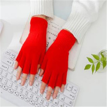Men and women lovers pure color acrylic knitted warm half gloves students write office work gloves ST-060
