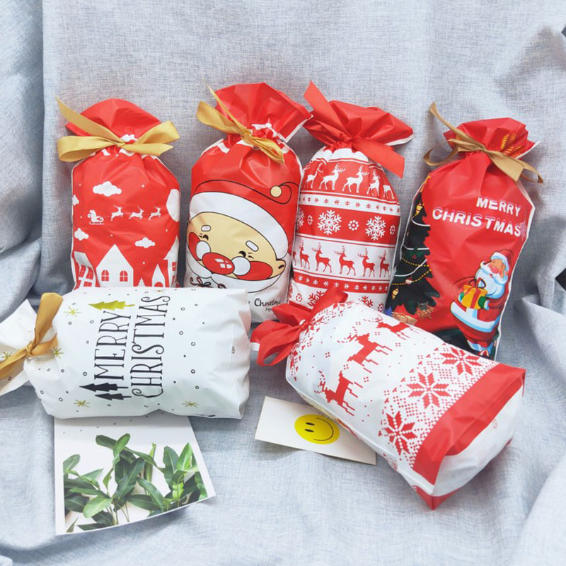 50 Pcs Hot Sale Christmas Drawstring Bags Santa Claus Plastic Gift Bag Packaging Biscuit Candy Bag Merry Christmas Halloween