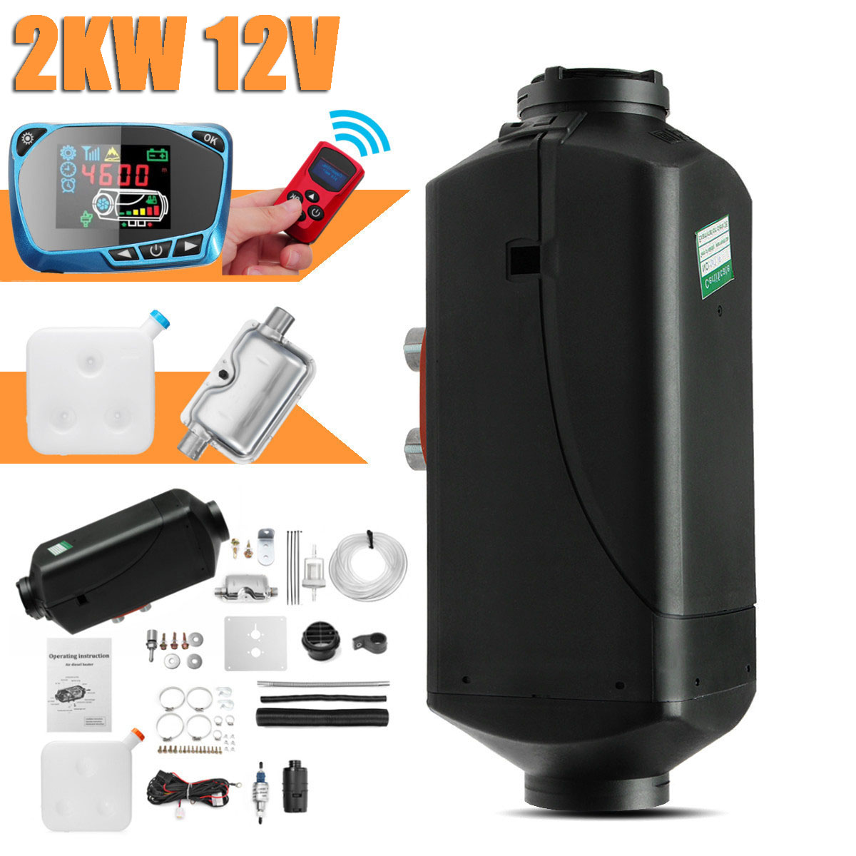 12V 2KW voiture Diesels Air Parking chauffage voiture chauffage LCD télécommande moniteur interrupteur + silencieux pour camions Bus remorque chauffage