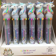 36PCS Ten-color Unicorn  Ballpoint Pen Cartoon Girl Heart Multi-color Press Ballpoint Pen Student Multi-function Hand Mark Pen cute dinosaur ballpoint pen cartoon 10 colors press ball point pen student multi function mark ball point pen