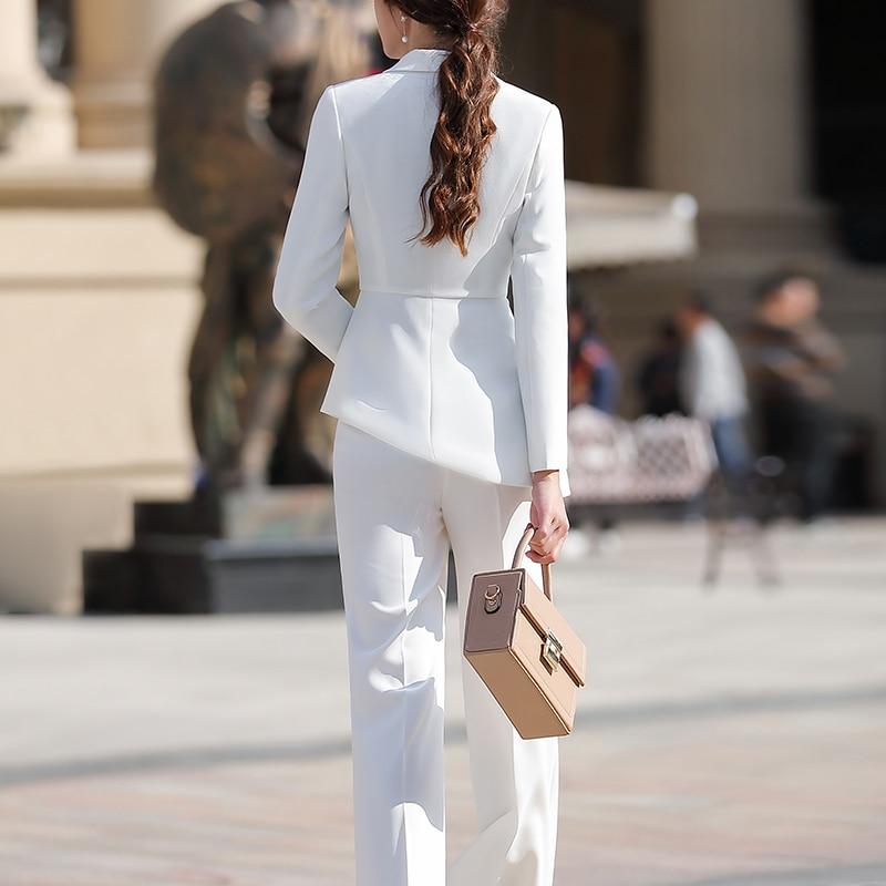 SUSIELADY Women Work Pant Suit Long Sleeve Blazer Jacket & Pant One Button Office Wear Women Suits Trousers Sets