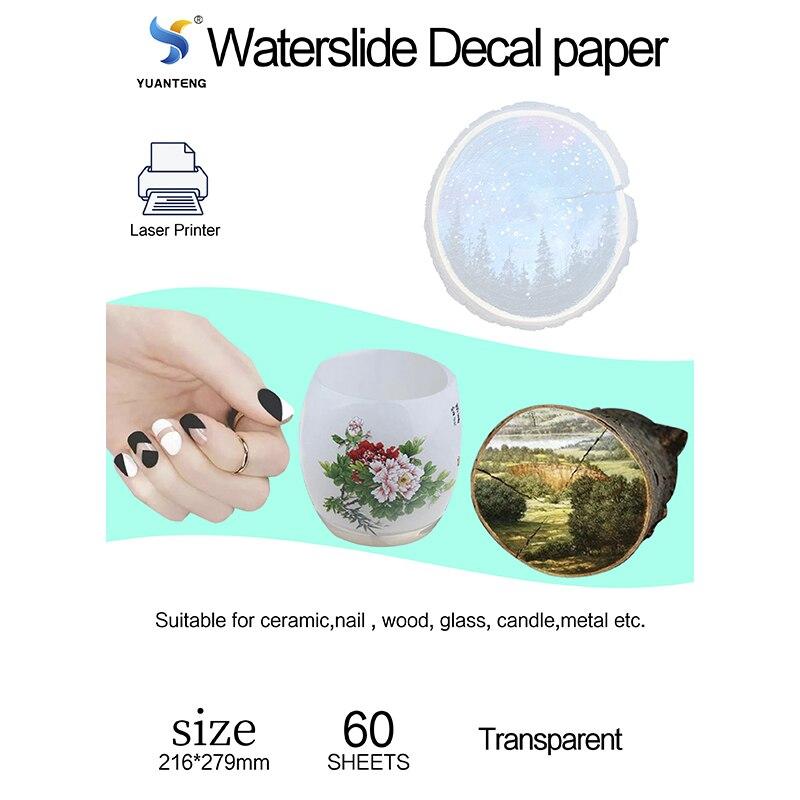 60 Sheets Waterslide Decal Paper Transparent for Laser Printer Letter Size Water Transfer Paper Foil Clear for Wood Metal Bike