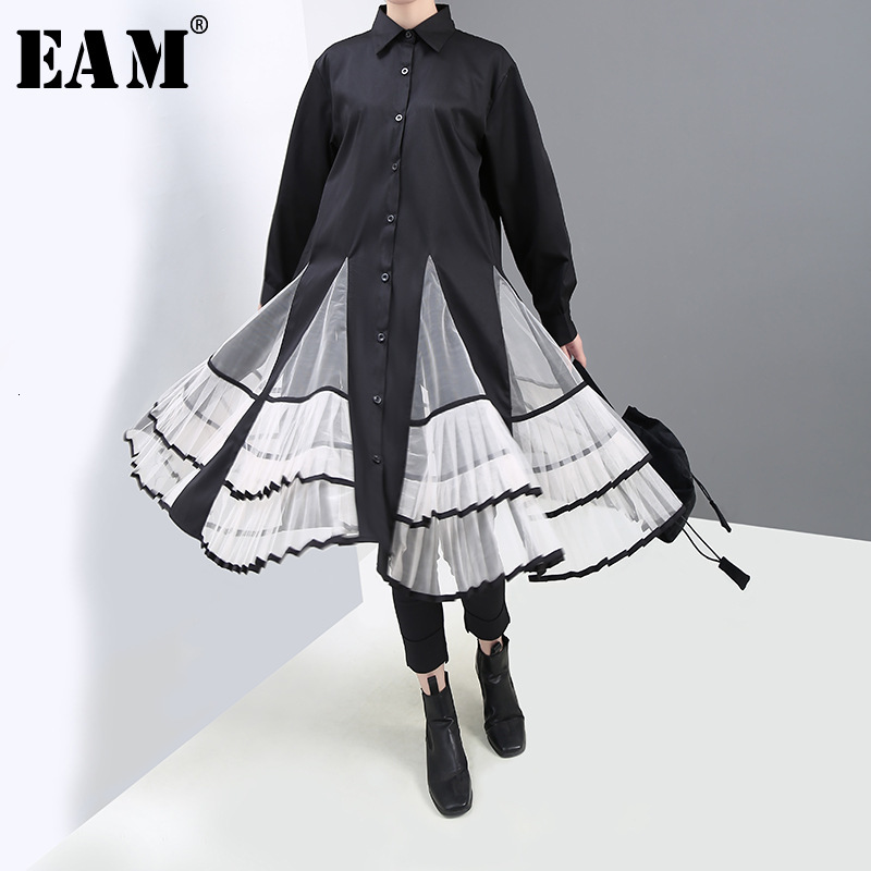 [EAM] Women Black Organza Pleated Temperament Dress New Round Neck Long Sleeve Loose Fit Fashion Tide Spring Autumn 2020 1H866