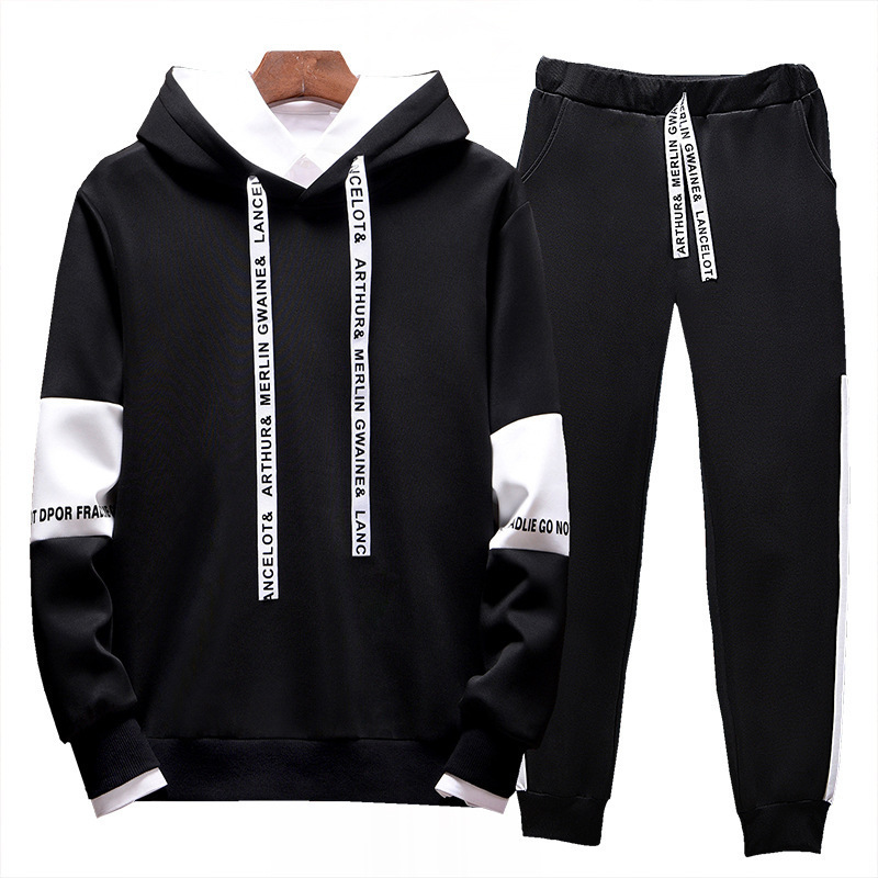 Blank Joint Set Hoodie Sweatpants Two-Piece Set Men'S Wear Autumn & Winter Solid Color Ankle Banded Pants