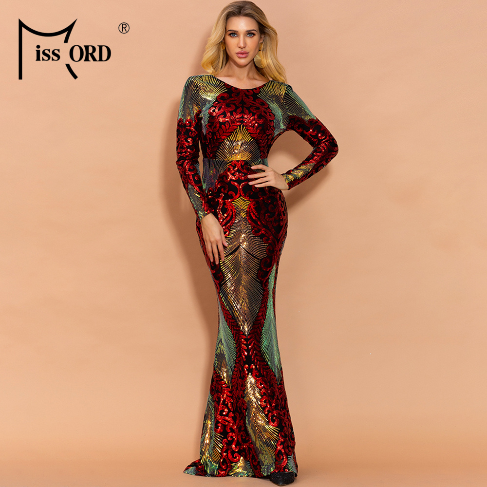 Missord 2020 Women Sexy O Neck Long Sleeve Backless Sequin Dresses Female Maxi Elegant Multi Dress  FT19747-1