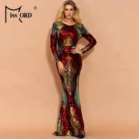 Missord 2020 femmes Sexy O cou à manches longues dos nu Sequin robes femme Maxi élégant Multi robe FT19747-1