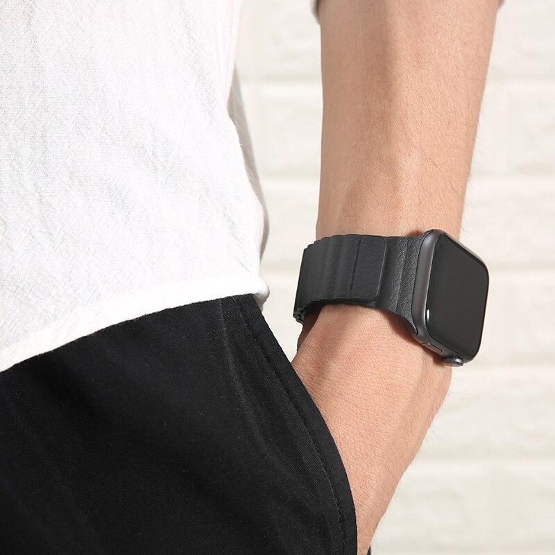 Ремешок кожаный для apple watch band 40 мм 44 мм 38 42 мм, роскошный браслет для iwatch band se 6 5 3, Смарт-часы apple watch band 6