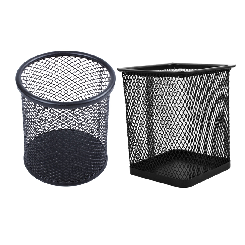 2 Pcs Rectangular Mesh Style Pen Ruler Holder Desk Organizer Steel Mesh Pencil Cup-Black For Home Office