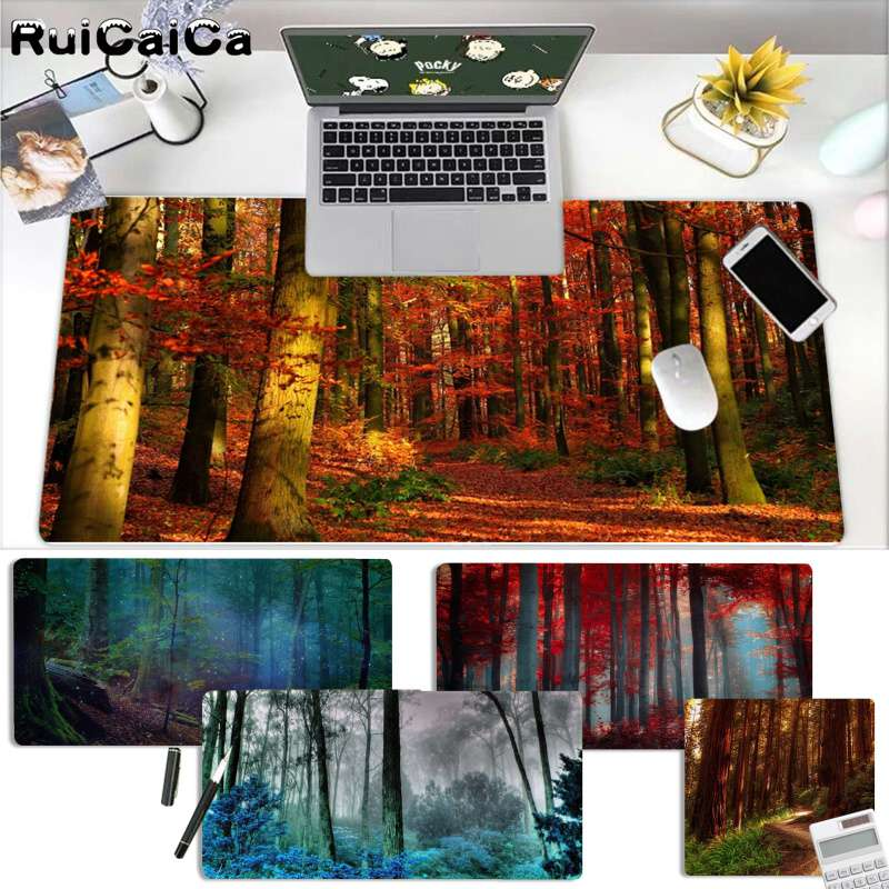 RuiCaiCa Non Slip PC Nature Blue Forest Office Mice Gamer Soft Mouse Pad Free Shipping Large Mouse Pad Keyboards Mat