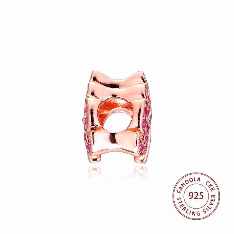 Phù hợp với Pandora Vòng Tay Nữ Bạc 925 Hạt Charm Hoa Hồng Lấp Lánh Mở Đường Lá Hạt Charms cho Trang Sức Làm kralen Perle