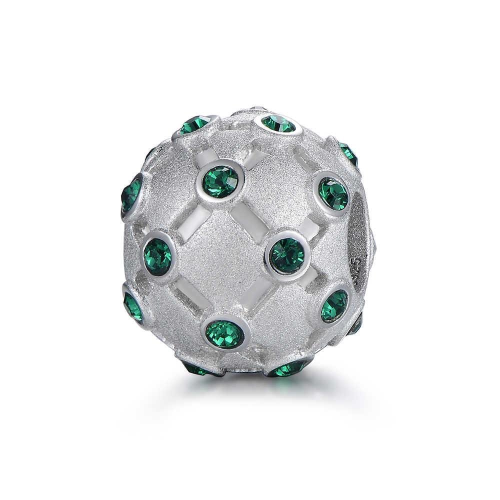 Бусины-шармы GW из серебра 925 пробы с зелеными кристаллами