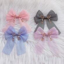 Сказочная заколка в Стиле Лолита, головной убор, милая подвеска в виде звезды, японский косплей, мягкая заколка для волос с бантом, украшение для волос