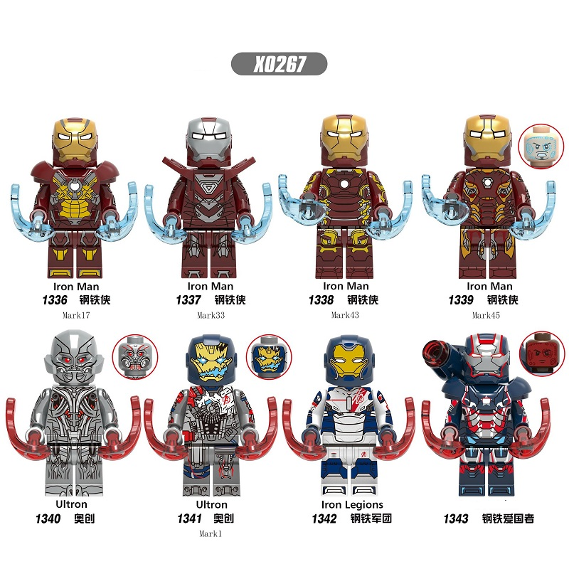 Super Heroes Building Blocks Iron Man Legions Ultron Mark 17 Mark 33 Mark 43 Mark 45 Action Figures For Kids Toys X0267