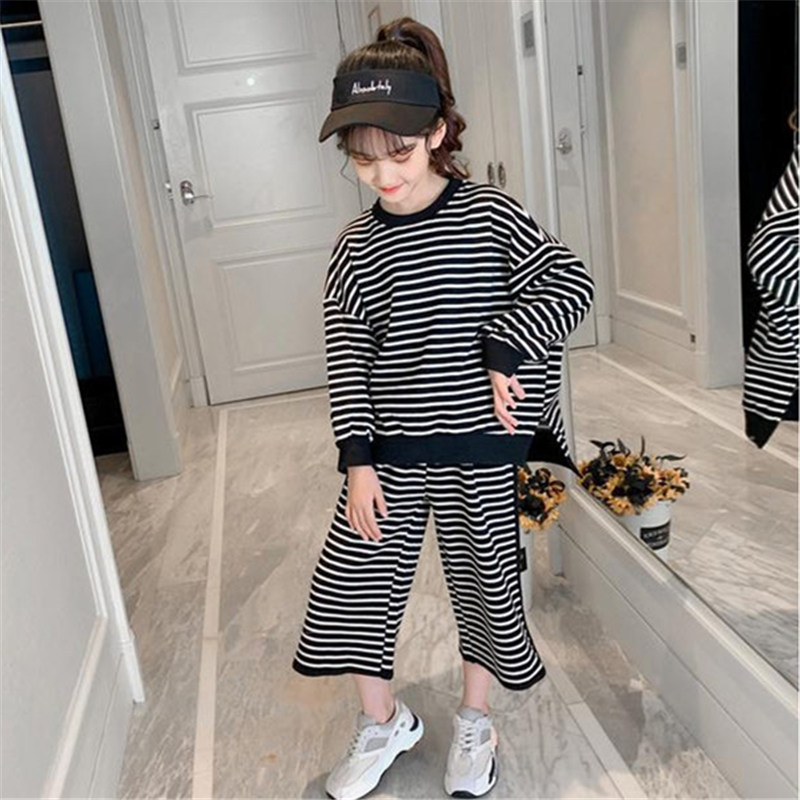 4 5 7 9 <font><b>11</b></font> 13 <font><b>Years</b></font> <font><b>Old</b></font> Kids Baby Girl Autumn <font><b>Clothes</b></font> Set Striped Long Sleeve Tops+Loose Pants Casual Set Outfit Sport Tracksuit image