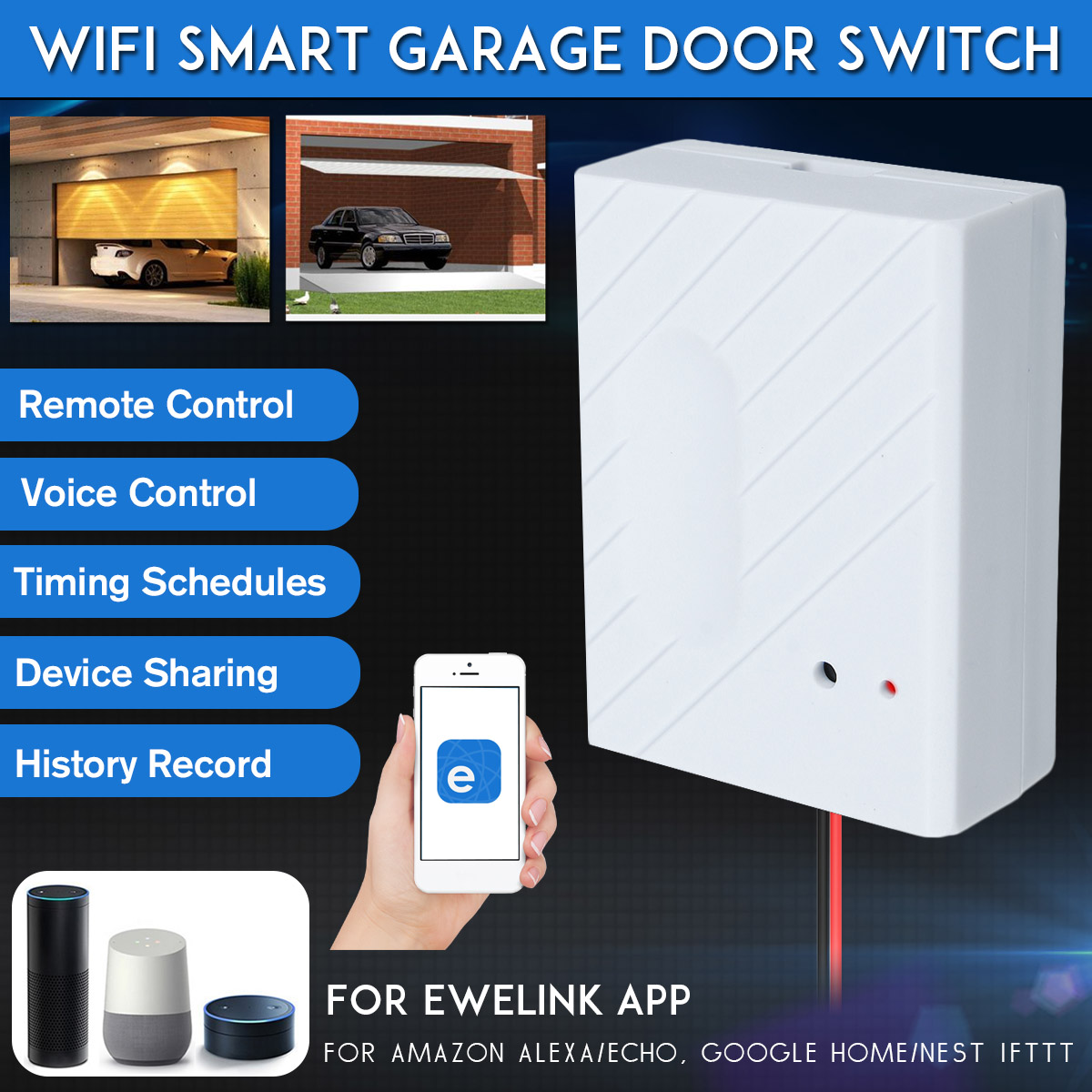 1Set WiFi Switch Smart Home Garage Door Opener Controller For eWeLink APP Phone Voice Control for 1Set WiFi Switch Smart Home Garage Door Opener Controller For eWeLink APP Phone Voice Control for Amazon Alexa for Google Home