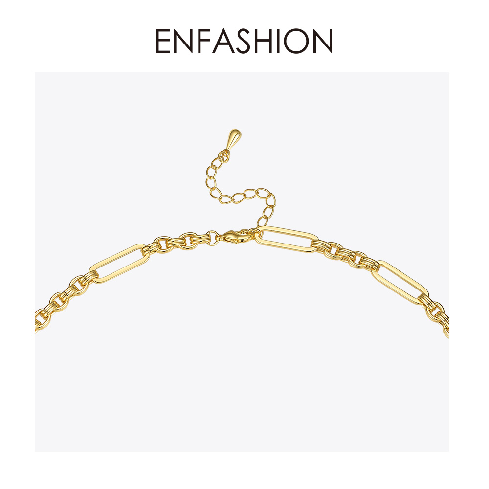 Image 4 - ENFASHION Long Link Chain Choker Necklace Women Gold Color Statement Necklace Lady Fashion Femme Jewelry Dropshipping P193059Chain Necklaces   -
