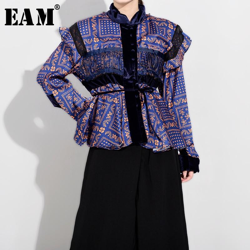 [EAM] Women Pattern Print Ruffles Temperament Blouse New Stand Collar Long Sleeve Loose Fit Shirt Fashion Autumn 2020 JY7821