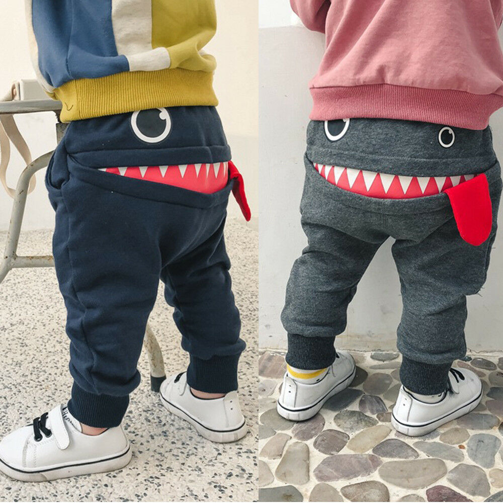 Casual Baby Children Pants Toddler Boys Girls Cute Big Mouth Monster Trousers Costumes Long Cototn Infant Cartoon Panty Clothes