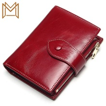 Wallet Small Package Short Genuine Leather Function Cowhide Two Wallet Woman